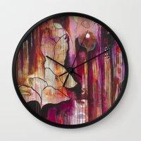 "flora bowley Wall Clocks featuring ""Kiss"" Original Painting by Flora Bowley by Flora Bowley"