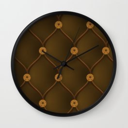 Studded chocolate brown furniture leather Wall Clock