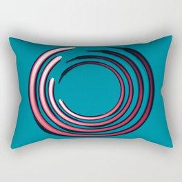 Rough red circles over blue Rectangular Pillow