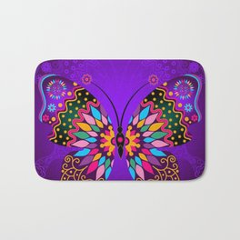 Colorful Butterflies and Flowers V23 Bath Mat