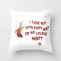 cocaine Throw Pillows featuring COCAINE LOVE by Beauty Killer Art