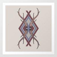 antlers Art Prints featuring Antlers by Ben Bauchau