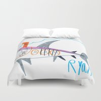 submarine Duvet Covers featuring Shark Submarine by Ryan van Gogh