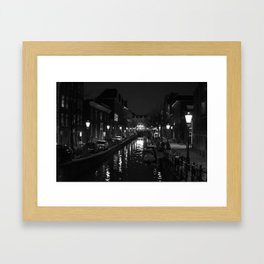 Amsterdam by Night - Canal Framed Art Print