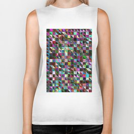 glitch color pattern Biker Tank