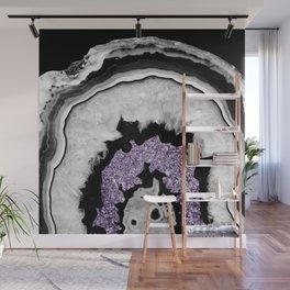 Gray Black White Agate with Ultra Violet Glitter #2 #gem #decor #art #society6 Wall Mural