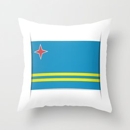Flag of Aruba.  The slit in the paper with shadows.  Throw Pillow