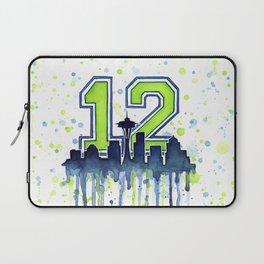 Seattle 12th Man Art Skyline Watercolor Laptop Sleeve