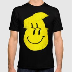 Smiley Glitch Black Mens Fitted Tee MEDIUM