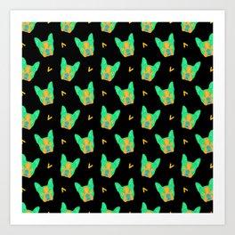 boston terrier - blk pattern Art Print