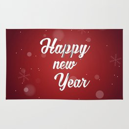 Happy holiday, Christmas sign with snow flake and christmas decoration on the red background Rug