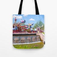 dumbo Tote Bags featuring Dumbo Ride by ThatDisneyLover