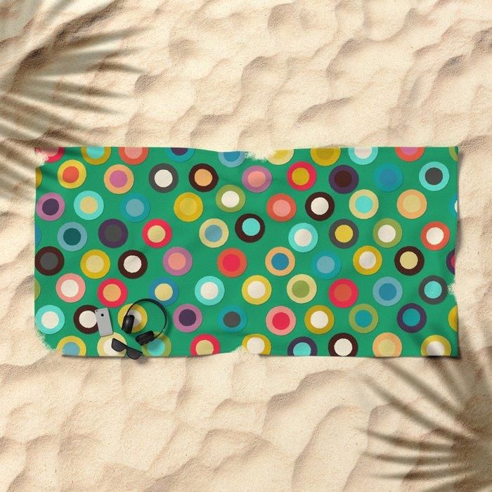 green pop spot Beach Towel