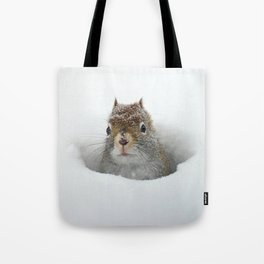 Pop-up Squirrel in the Snow Tote Bag