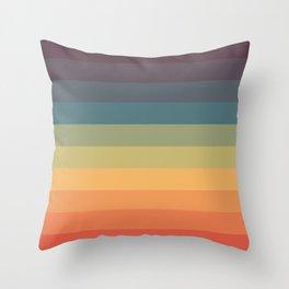 Colorful Retro Striped Rainbow Throw Pillow