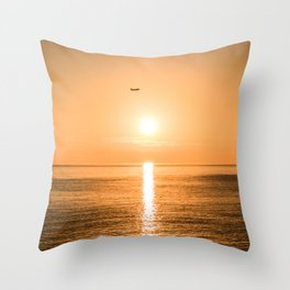Flight Over The Sea At Sunset Throw Pillow