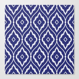 Embroidery vintage pattern illustration with porcelain indigo blue and white Canvas Print