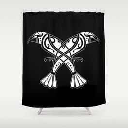 Huginn and Muninn- Two Ravens Shower Curtain