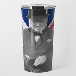 Winston Churchill Posing With A Tommy Gun Travel Mug