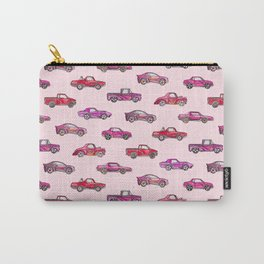 Little Toy Cars in Watercolor on Pink Carry-All Pouch