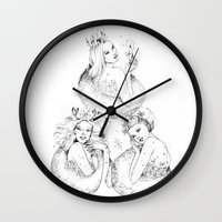 fairies Wall Clocks featuring Christmas Fairies by Alice