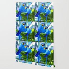 BLUE SURREAL BLUE MACAWS JUNGLE GRAPHIC Wallpaper