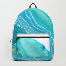 Soft Aqua Marine Gold Agate Glam #1 #gem #decor #art #society6 Backpack