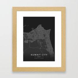 Kuwait City, Kuwait - Dark Map Framed Art Print