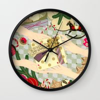 gift card Wall Clocks featuring Merry Christmas gift by Yuliya