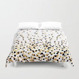 Floating Dots - Black and Gold on White Duvet Cover