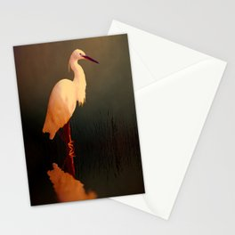 Midnight Egret Stationery Cards