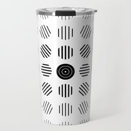 Black and White centered lines Travel Mug