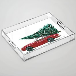 Vintage 80's car carrying a Christmas tree Acrylic Tray