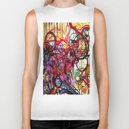 Whimsical Flower Girl's Force Field Acrylic and Watercolor Painting Biker Tank