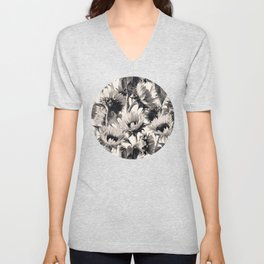 Sunflowers in Soft Sepia Unisex V-Neck