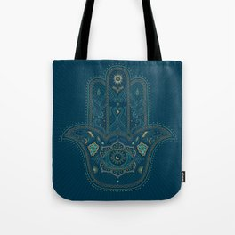 Hamsa Hand in Blue and Gold Tote Bag