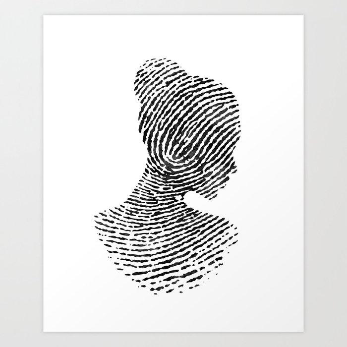 Fingerprint Silhouette Portrait No 1 Art Print By