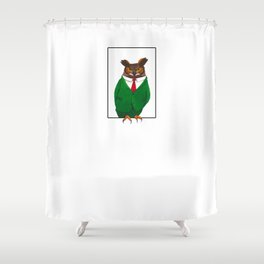 Owl in suit Shower Curtain