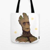 groot Tote Bags featuring Groot by Ryan James Art