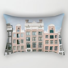 The iconic canal houses in the city centre of Amsterdam, Holland || Colorful Travel photography Rectangular Pillow