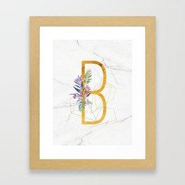 Modern glamorous personalized gold initial letter B, Custom initial name monogram gold alphabet prin Framed Art Print