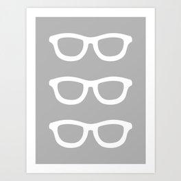 Smart Glasses Pattern - Grey Art Print
