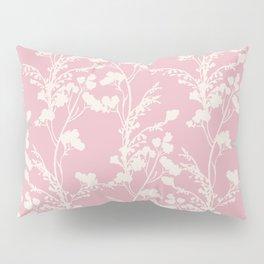 Summer Memories - Simple Botanical Silhouette on Pink Pillow Sham