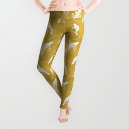 Birds of paradise mustard/white Leggings