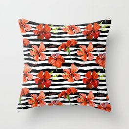 Hibiscus flower and stripes pattern Throw Pillow