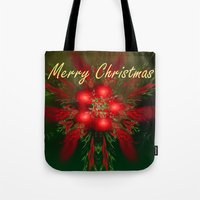 merry christmas Tote Bags featuring Merry Christmas by Roger Wedegis