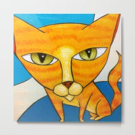Cute Orange Kitty Metal Print