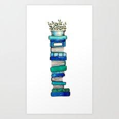 Blue & Green Books Art Print