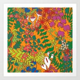 Psychedelic Vines in Mod Mango Orange Art Print