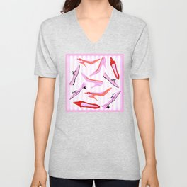 Pink Stiped Shoe And High Heel Pattern Unisex V-Neck